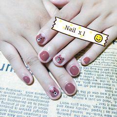 圆形手绘可爱卡通短指甲手绘美甲短指甲专题美甲图片