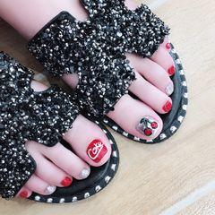 脚部手绘红色银色夏天可乐水果樱桃美甲图片