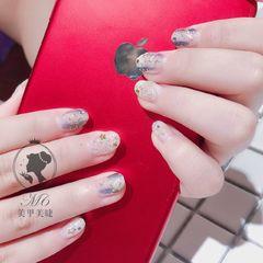 圆形银色蓝色星月美甲图片
