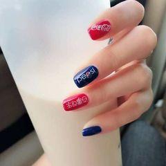 方圆形日式韩式红色蓝色夏天可乐美甲图片