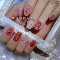 方圆形日式韩式红色粉色白色星月美甲图片
