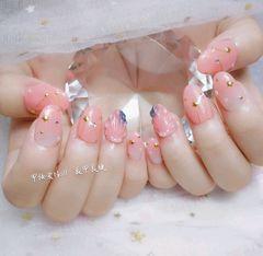 圆形日式渐变粉色立体贝壳#渐变#星月#美甲图片