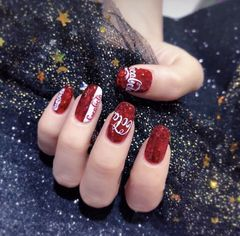 方圆形红色白色夏天可乐店铺热门爆款美甲图片