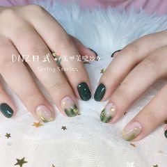圆形日式绿色晕染星月DNZ日式美甲星月美甲美甲图片