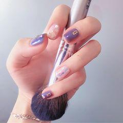 方圆形简约日式银色紫色贝壳片美甲图片