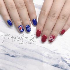 圆形手绘红色蓝色夏天可乐糖小糖Kammy美甲图片
