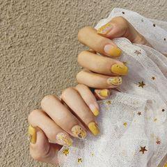 方圆形日式黄色贝壳片#饰品##贝壳#美甲图片