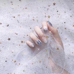 尖形渐变韩式蓝色星月猫眼星月美甲星月美甲猫眼蓝美甲图片