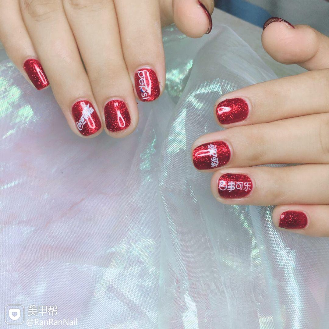 方圆形红色夏天可乐贴纸美甲图片