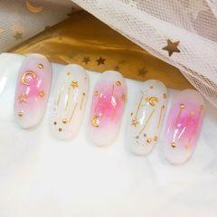 圆形日式可爱粉色白色星月腮红甲粉嘟嘟的腮红甲💓美甲图片