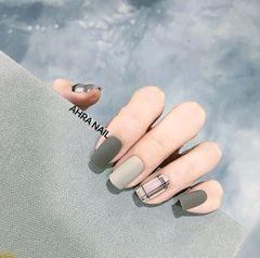 方形简约韩式绿色白色灰色莫兰迪色莫兰迪色美甲美甲图片