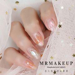 圆形日式韩式银色裸色橙色美甲图片