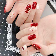 方圆形简约日式红色星月美甲星月甲 贝壳甲 新娘甲美甲图片