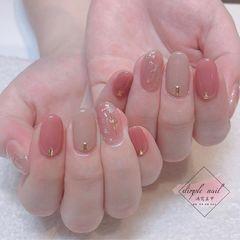 圆形简约韩式粉色粉嫩款式美甲图片