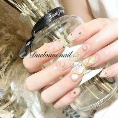 圆形新娘日式金色银色白色#贝壳片##星月#美甲图片