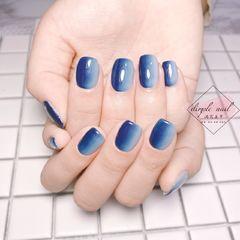方圆形简约手绘蓝色灰色竖形渐变灰蓝渐变款式美甲图片