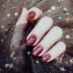 圆形手绘韩式红色磨砂水滴美甲图片