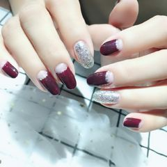 圆形简约韩式红色银色反法式新娘简单法式,显干净优雅美甲图片