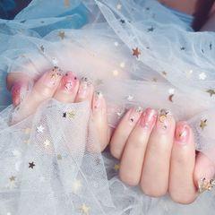 方圆形粉色裸色星月银色星月甲美甲图片
