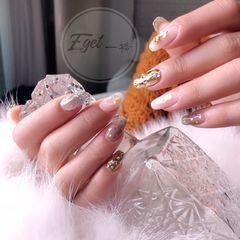 新娘韩式金色银色白色圆形贝壳片亮片美甲图片