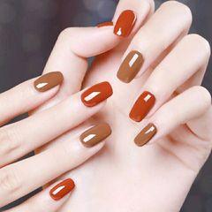 方圆形简约可爱橙色棕跳色#焦糖色美甲图片