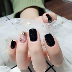 方圆形韩式黑色贝壳片金箔本周收藏量最高月度收藏量最高黑色爱上贝壳片美甲图片