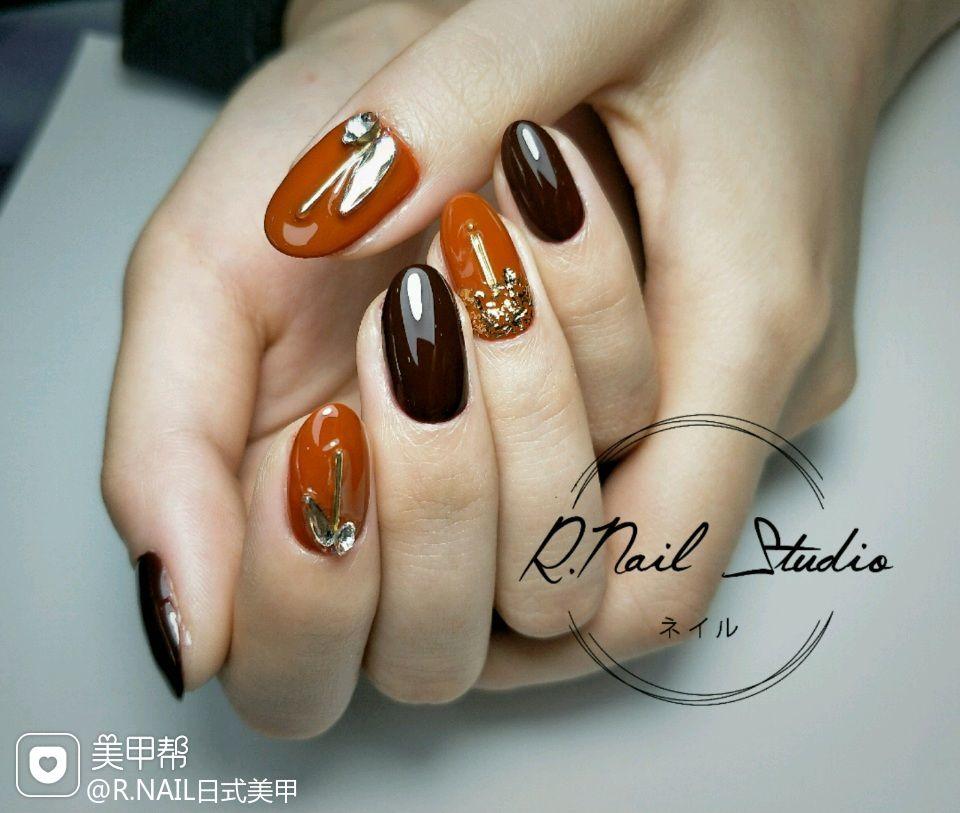 圆形日式橙色棕#南瓜色#车厘子色#日式极致#美甲图片