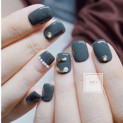 方圆形韩式绿色蓝色珍珠平法式美甲图片