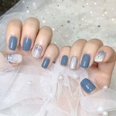 方圆形韩式蓝色银色白色渐变碎玻璃雾霾蓝,美甲图片
