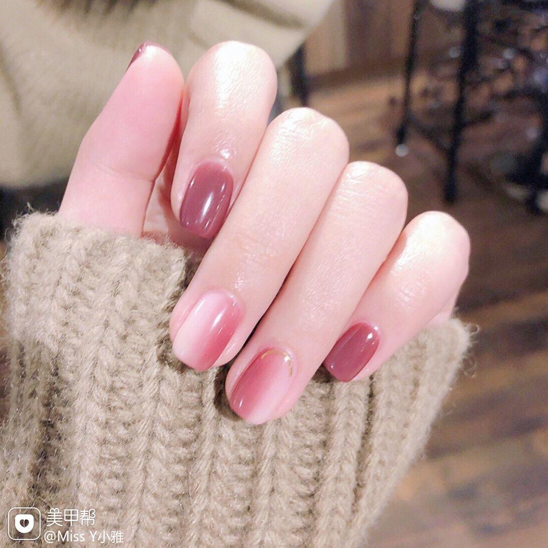方圆形竖形渐变红色粉色简约月度收藏量最高美甲图片