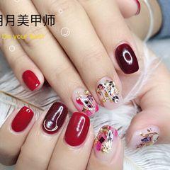 方圆形日式韩式红色金色白色美甲图片