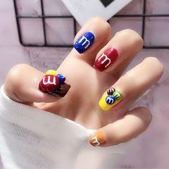 方形可爱韩式红色蓝色棕m豆个性款,显白,美甲图片