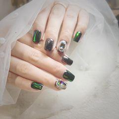 黑色绿色方圆形玻璃纸碎玻璃钻韩式美甲图片