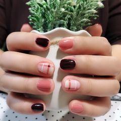 方圆形酒红色粉色格纹跳色车厘子,02裸粉色,乳白色,线条美甲图片