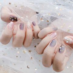 贝壳片猫眼星月日系珍珠方圆形美甲图片