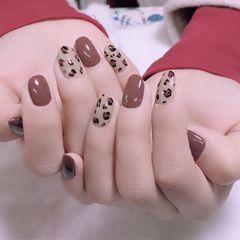 棕色豹纹手绘本周收藏量最高咖啡色美甲图片