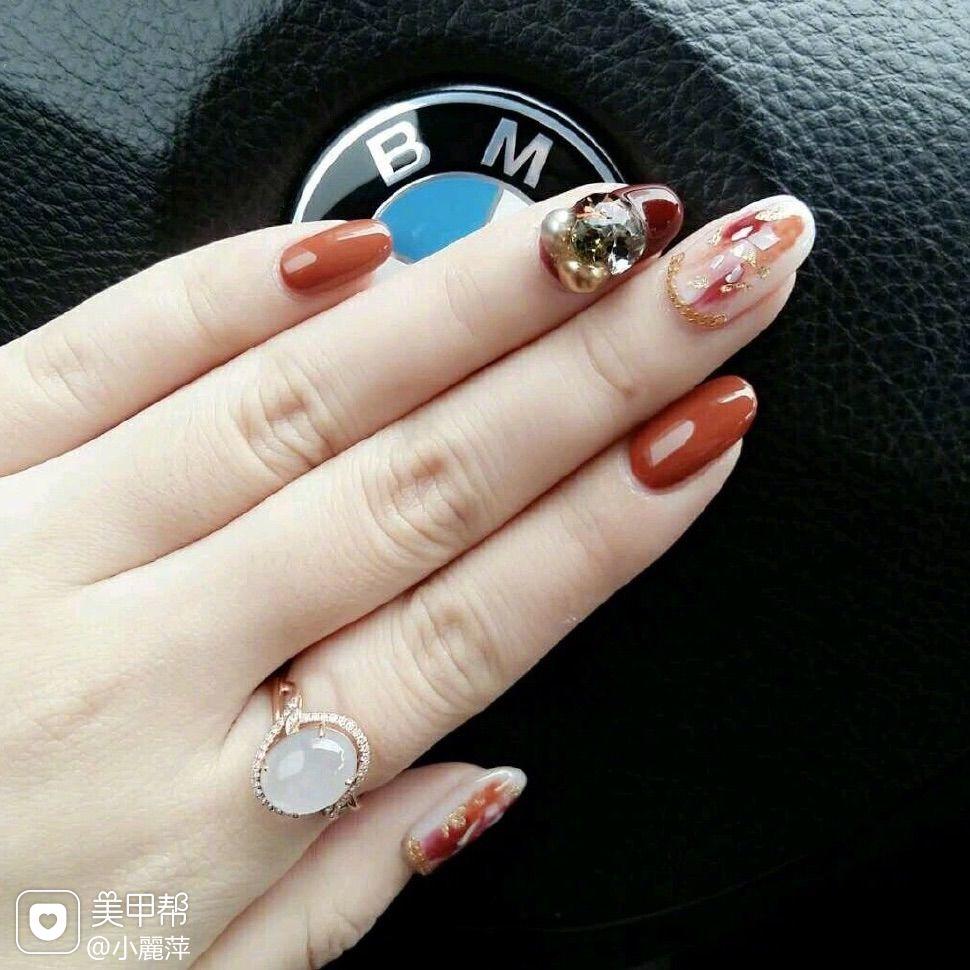 红色圆形新娘贝壳片法式南瓜色美甲图片