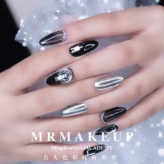 圆形简约韩式银色黑色镜面饰品美甲图片