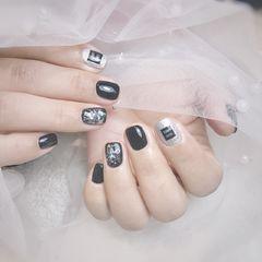 黑色方圆形银色韩式美甲图片