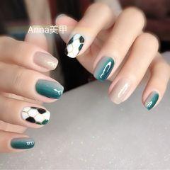 蓝色绿色银色方圆形手绘竖形渐变宝格丽美甲图片