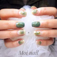 方圆形绿色星月美甲图片