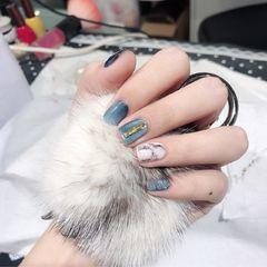 方形晕染猫眼蓝色黑色石纹金属饰品美甲图片