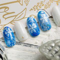 蓝色圣诞圆形雪花圣诞雪花❄️美甲图片