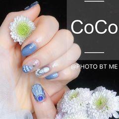 蓝色圆形简约日式贝壳手绘圣诞拉花,立体贝壳美甲图片