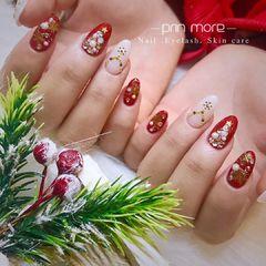 圆形红色白色钻珍珠圣诞日式美甲图片