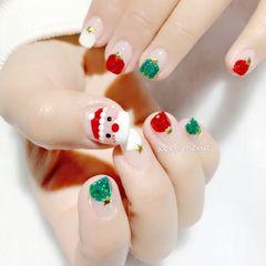 红色方圆形法式圣诞绿色手绘美甲图片