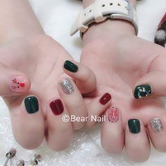 红色绿色方圆形银色圣诞跳色短指甲美甲图片