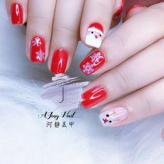 红色方圆形手绘白色圣诞美甲图片