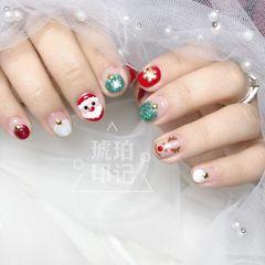 绿色红色圆形手绘圣诞短指甲美甲图片