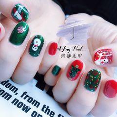 红色绿色圆形手绘圣诞美甲图片